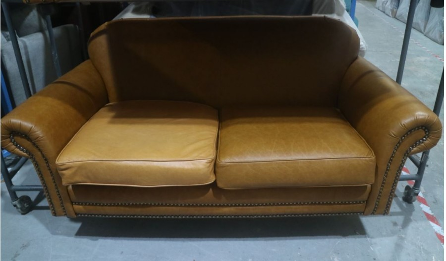 Henley Distinctive Leather Sofa - 2.5 Seater - Sand