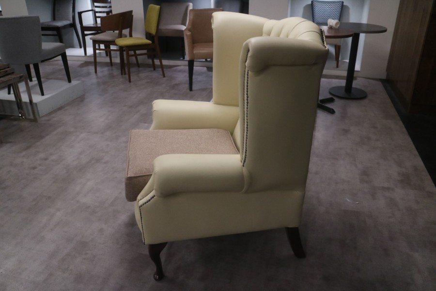 Scroll Wing Chair Chesterfield Leather Armchair - Bespoke Leather/Fabric mix