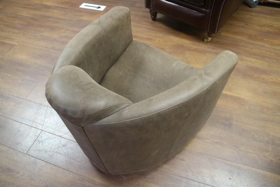 Hudson Leather Tub Chair - Rancho Brown