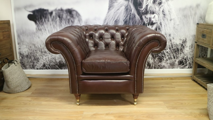 Calvert Luxury Leather Sofa - Chair - Matera Truffle