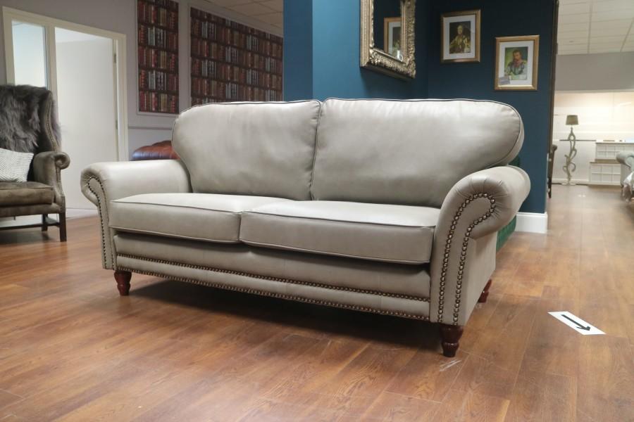 Canterbury Leather Sofa - 3 Seater - Elephant (Grey)