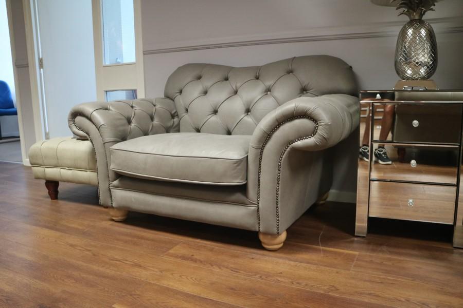 Drummond Vintage Brown Leather Sofa - 1.5 Seater - Elephant (Grey)