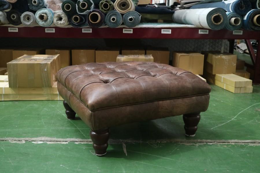 Balston Leather Chesterfield Footstool - Balston Footstool - Bespoke Leather