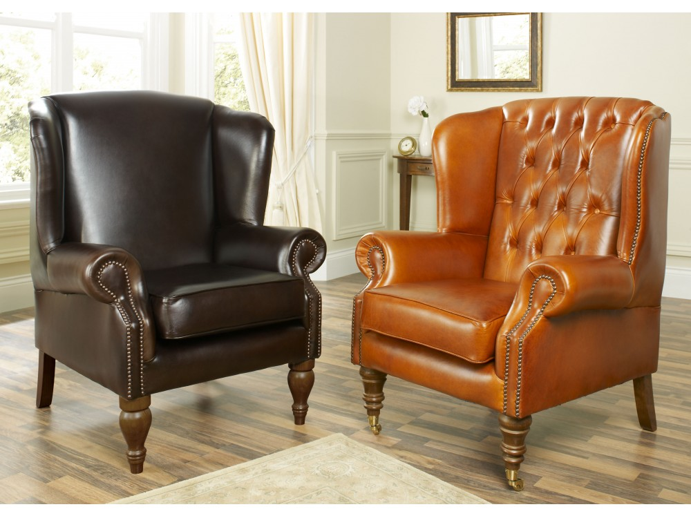 The Douglas Wing Chair in Premium Chocolate leather