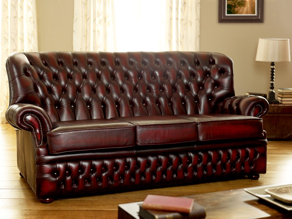 Monks Red Leather Chesterfield Sofa Living Room Sofas
