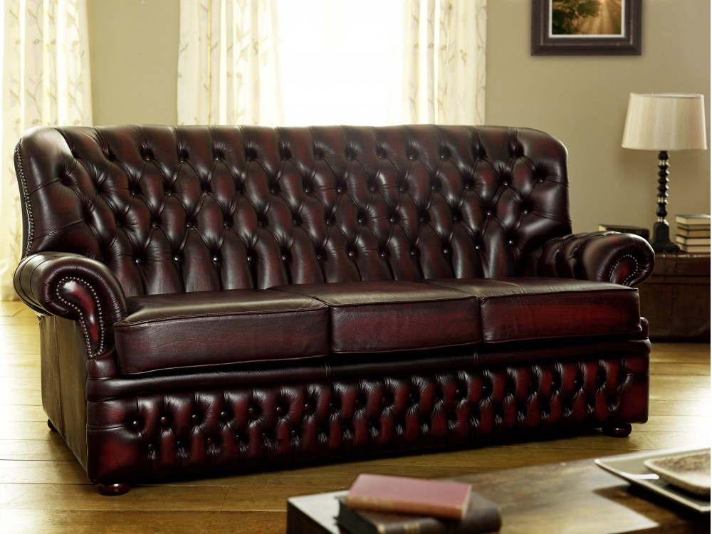 Monks Red Leather Chesterfield Click To Zoom