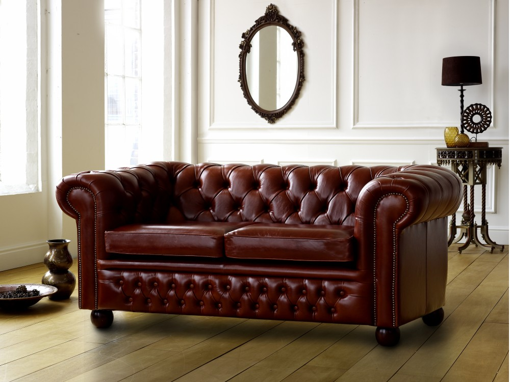 Claridge Leather Chesterfield Sofa Click to Zoom