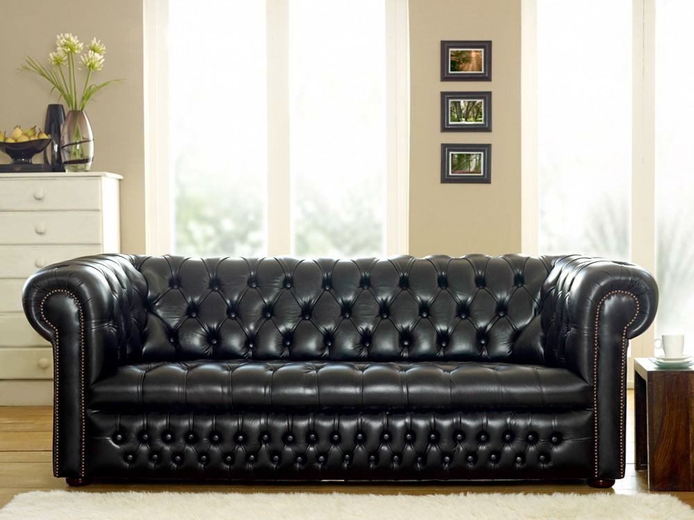Ludlow Black Leather Chesterfield Sofa The
