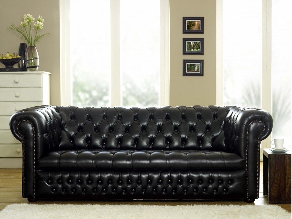 Ludlow Black Leather Chesterfield Sofa The Chesterfield Company