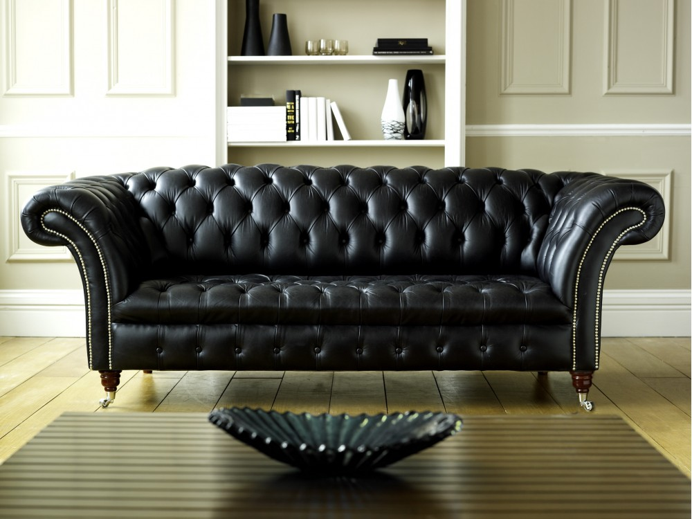 Black leather chesterfield balston chesterfield sofas - Protector de sofas de cuero ...