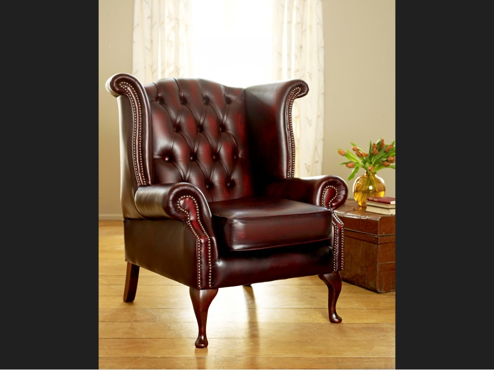 Scroll Wing Chesterfield Leather Armchair The