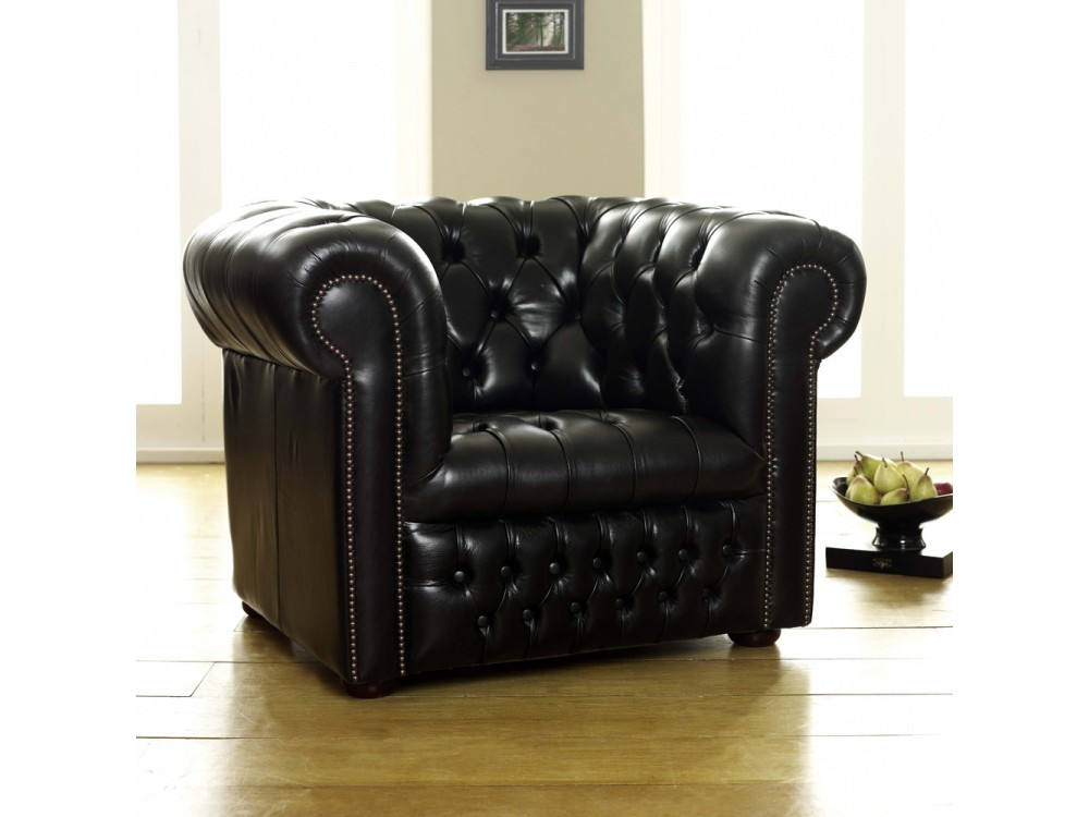 Ludlow black leather chesterfield sofa the chesterfield for Couch chesterfield