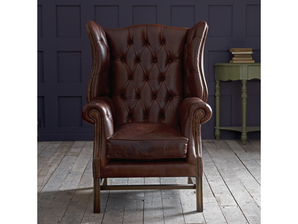 Manchester vintage leather fireside armchair click to zoom
