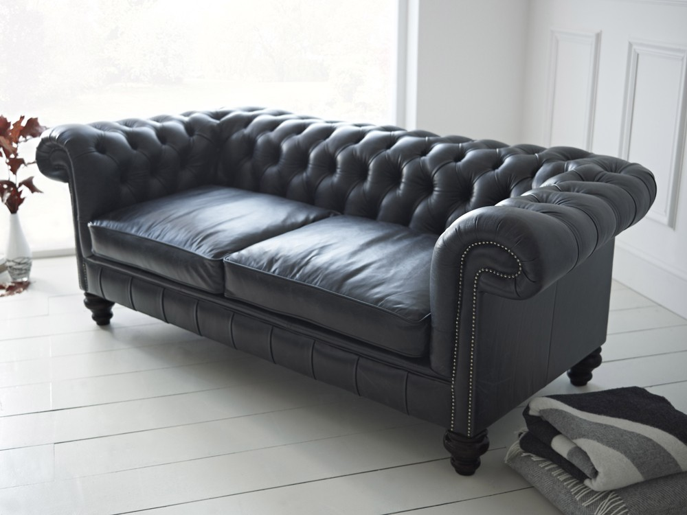 Black leather chesterfield sofa paxton chesterfield sofas Leather chesterfield loveseat