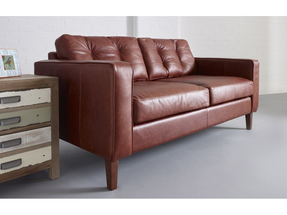 Melrose Buttoned Back Leather Sofa The Chesterfield Company