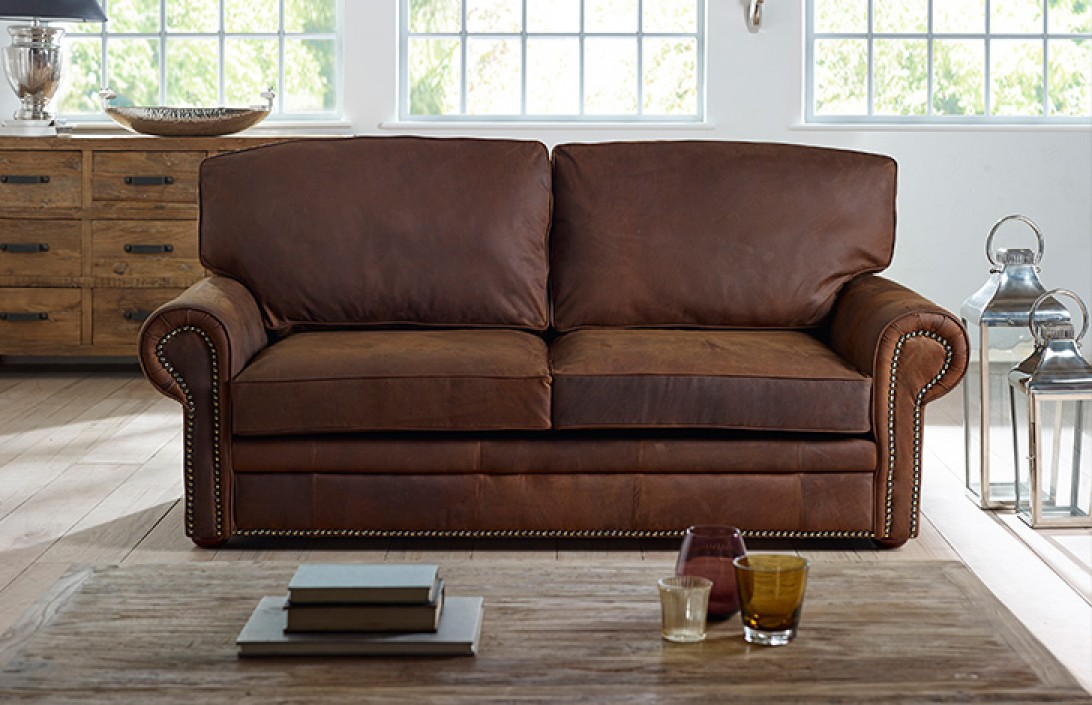 3 seater sb hamilton studded leather sofa bed for Leather studded couch