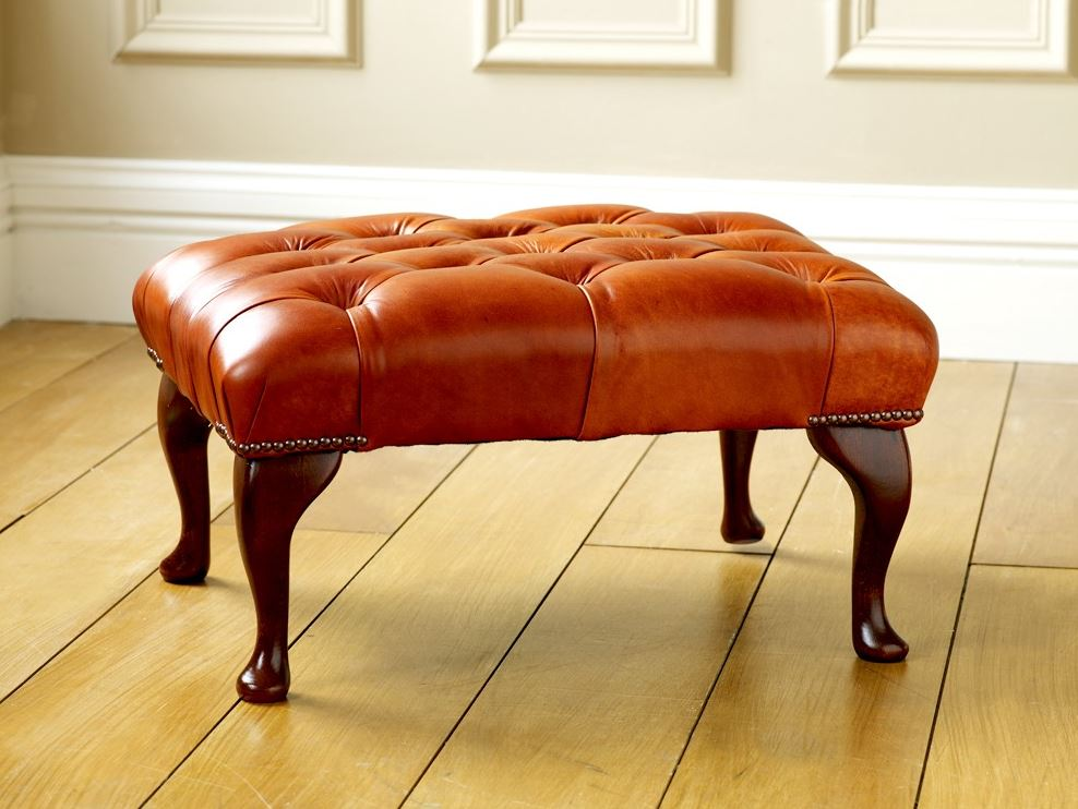 Leather Queen Anne Stool for Vintage Armchair